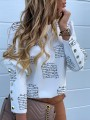 White Flora Buttons Pattern Bodycon Long Sleeve Going out Blouse