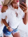 White Patchwork Lace Cut Out Round Neck Short Sleeve Blouse
