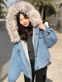 Blue Patchwork Fur Hooded Long Sleeve Fashion Denim Vest