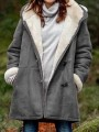 Grey Patchwork Pockets New Fashion Latest Women Hooded Long Sleeve Modern Coat