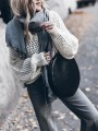 White Patchwork Cut Out Long Sleeve V-neck Fashion Pullover Sweater