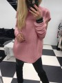 Pink Cut Out 2-in-1 Round Neck Long Sleeve Fashion Pullover Sweater