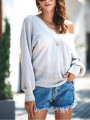 Grey One Shoulder Long Sleeve Fashion Pullover Sweater