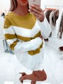 Yellow Gingham Buttons Bodycon Comfy Hit Color Going out Sweater