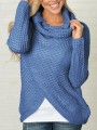Blue Plain Buttons fits me like a glove High Neck Long Sleeve Pullover Sweater