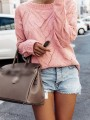 Pink Cut Out Bodycon Comfy Round Neck Long Sleeve Going out Sweater