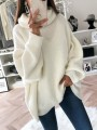 White High Neck Long Sleeve Oversize Fashion Pullover Sweater