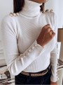 White Patchwork Buttons Bodycon Comfy Ttrendy Fashion Sweater