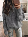 Grey Round Neck Long Sleeve Oversize Pullover Fashion Sweater