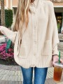 White Patchwork Buttons Pockets Band Collar Long Sleeve Fashion Sweater Pullover
