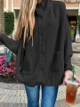 Black Patchwork Buttons Pockets Band Collar Long Sleeve Fashion Sweater Pullover
