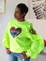 Neon Green Letter Poppin Print Ruffle Cut Out Casual Pullover Sweatshirt
