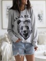 Grey Floral Pattern Bodycon Comfy Long Sleeve Going out Sweatshirt