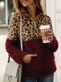 Burgundy Patchwork Leopard Pattern Pockets Teddy Fuzzy Band Collar Pullover Sweater