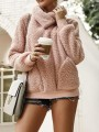 Pink Irregular Pockets Cowl Neck Teddy Fuzzy Band Collar Oversized Pullover Sweater