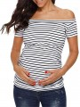 White-Black Striped Print Off Shoulder Short Sleeve Casual Maternity T-Shirt