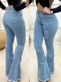 Dark Blue Patchwork Buttons Pockets Flare High Waisted Fashion Jeans Pants