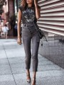 Grey Buttons Bodycon Comfy Skinny Pencil Jeans Ttrendy Fashion Jean