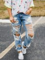 Light Blue Patchwork Cut Out Pockets Ripped Destroyed Boyfriend Mom Style Long Jeans