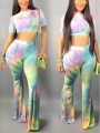 Green Colorful Tie Dye Draped Flare Bell Bottom Jamaica Reggae Casual Long Jumpsuit