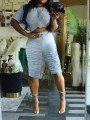 Grey Pleated Drawstring Two Piece Round Neck Short Sleeve Scrunch Casual Sports High Waisted Short Jumpsuit