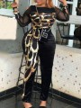 Black Patchwork Sequin Grenadine Tribal Print Two Piece Plus Size Party High Waisted Sparkly Glitter Birthday Long Jumpsuit