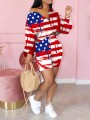 Red American Flag Print Off Shoulder Two Piece Casual Sports Short Jumpsuit