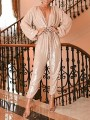 Apricot Patchwork Sequin Pleated V-neck Sparkly Glitter Birthday Party Wide Leg Palazzo Long Jumpsuit