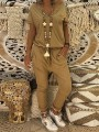 Camel Buttons Pockets Drawstring High Waisted Long Jumpsuit