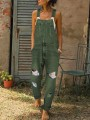 Army Green Pocket Spaghetti Strap Ripped Destroyed Oversize Long Denim Jumpsuit