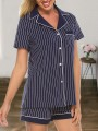 Navy Blue Striped Button Long Sleeve Pajamas Shorts Jumpsuit Sleepsuit