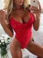 Red Patchwork Lace Bow Backless High Waisted Lingerie Short Jumpsuit