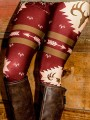 Red Christmas Floral High Waisted Fashion Long Legging