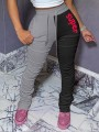 """Black-Grey """"Super"""" Print Drawstring Pockets Pleated Stacked Scrunch High Waisted Casual Sports Long Pant"""