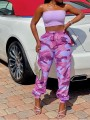 Pink Camouflage Drawstring Pockets Harem Casual Sports High Waisted Long Pant