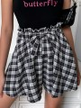 Black Plaid Bow High Waisted Fashion Shorts Culottes