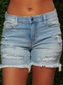 Light Blue Patchwork Tassel Pockets Ripped Distressed High Waisted Casual Denim Shorts