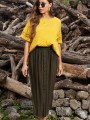 Green Buttons Pleated Front Slit High Waisted Maxi Skirt