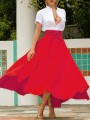 Red Irregular Pockets Belt Lace-up High Waisted Flowy Cute Maxi Skirt