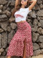 Red Floral Buttons Side Slit Sweet Maxi Skirt
