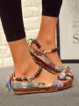 Brown Round Toe Print Beads Flower Fashion Casual Flat Shoes