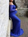 Blue Patchwork Lace Boat Neck Trumpet Long Sleeve Maxi Maternity Dress