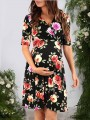 Black Floral Draped V-neck Short Sleeve Fashion Maternity Dress