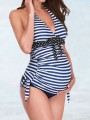 Blue-White Plaid 2-in-1 Bow Halter Neck Deep V-neck Fashion Maternity Swimwear