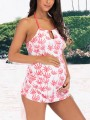 White Palm Tree Print Halter Neck Backless Plus Size Maternity For Babyshowes Swimwear