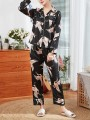 Black Floral Print 2-in-1 Turndown Collar Long Sleeve Mid-rise Fashion Loungewear Lounge Sets