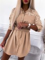 Khaki Patchwork Buttons Belt Turndown Collar Streetwear Mini Dress