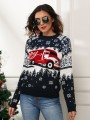 Navy Blue Floral Christmas Snow Round Neck Fashion Sweater Pullover