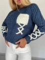Navy Blue Patchwork Pockets Round Neck Long Sleeve Fashion Sweater Pullover