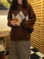 Coffee Color Block Print Round Neck Honey Girl Pullover Sweater